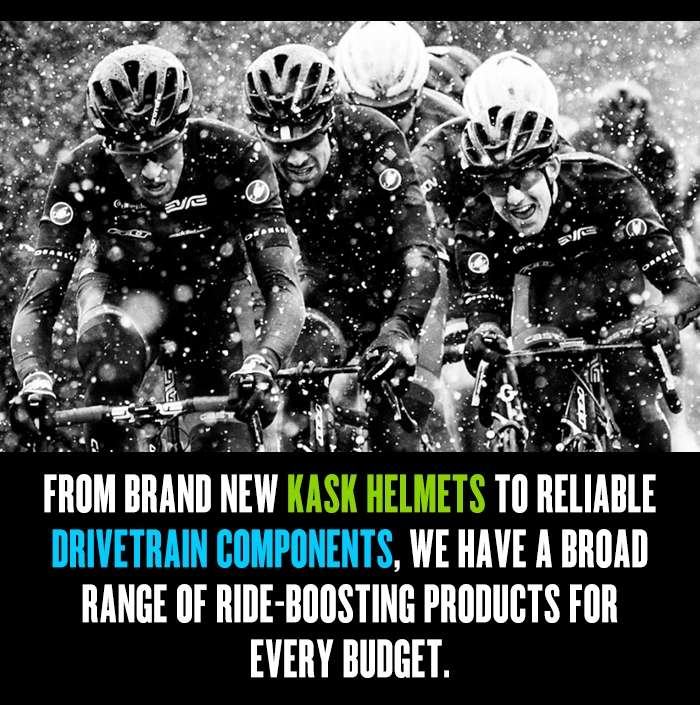 Brand new Kask helmets to reliable drivetrain components
