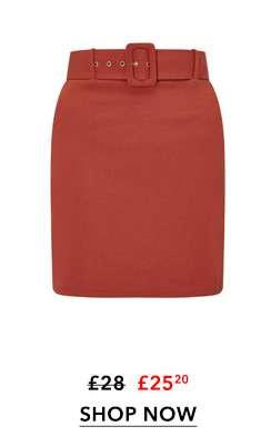 Rust Belted Skirt