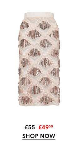 Nude Sequin Fringe Midi Skirt