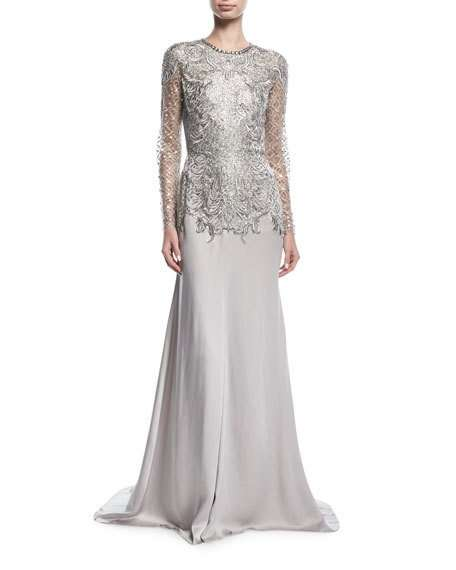 Embroidered Evening Gown with Embellished Bodice