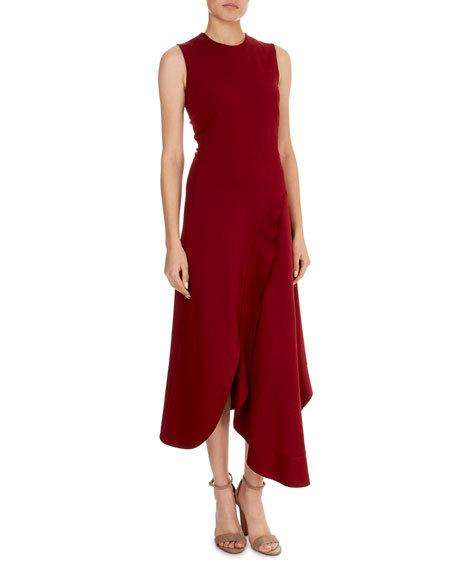 Sleeveless Asymmetric-Wave Hem Midi Dress