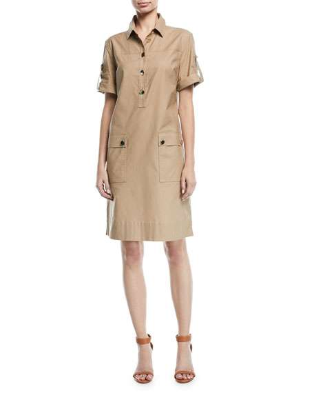 Short-Sleeve Button-Down Safari Shirtdress