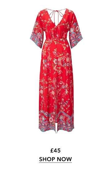 Print Button Kimono Maxi Dress