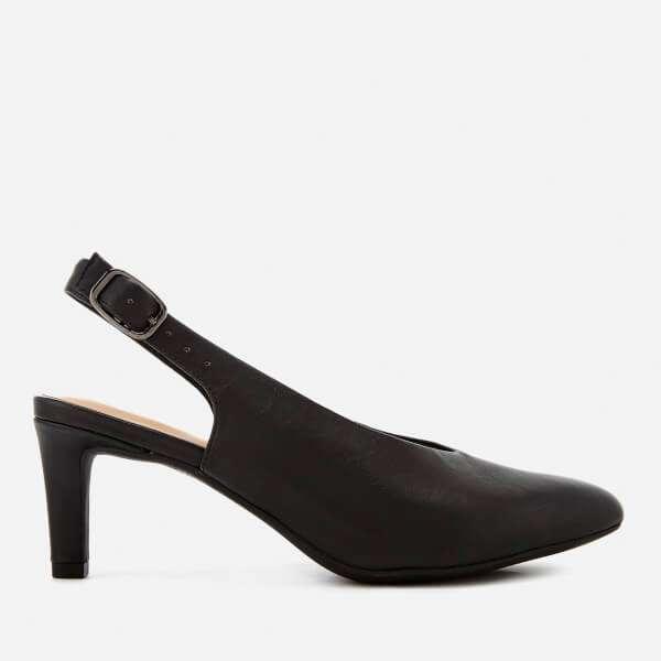 Clarks Women's Calla Violet Leather Sling Back Court Shoes - Black