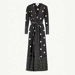 WE ARE LEONE                              Polka dot-print silk maxi cardigan