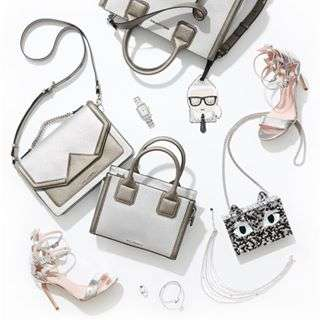 Glossy, glittery, metallic must-haves ... Shop silver for spring! #KARLLAGERFELD
