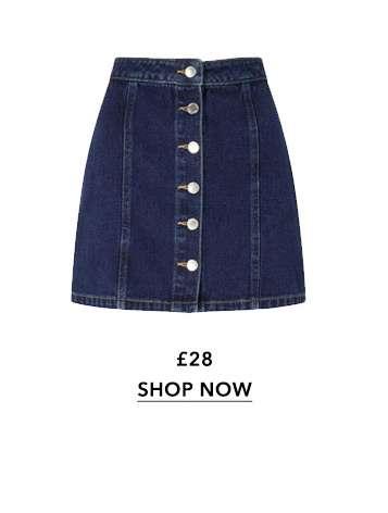 Blue Button Detail Denim Skirt