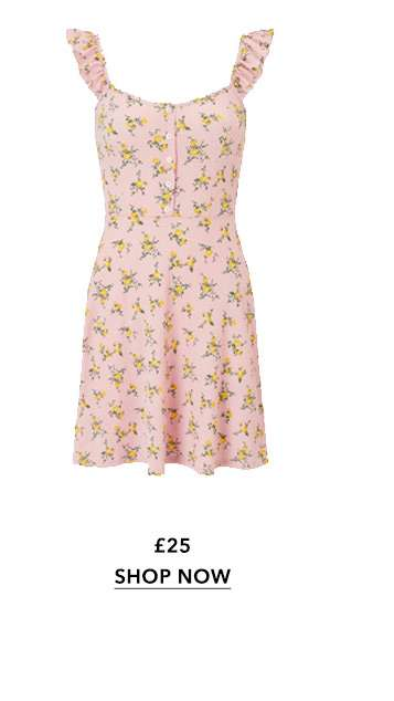 Floral Print Frill Button Skater Dress