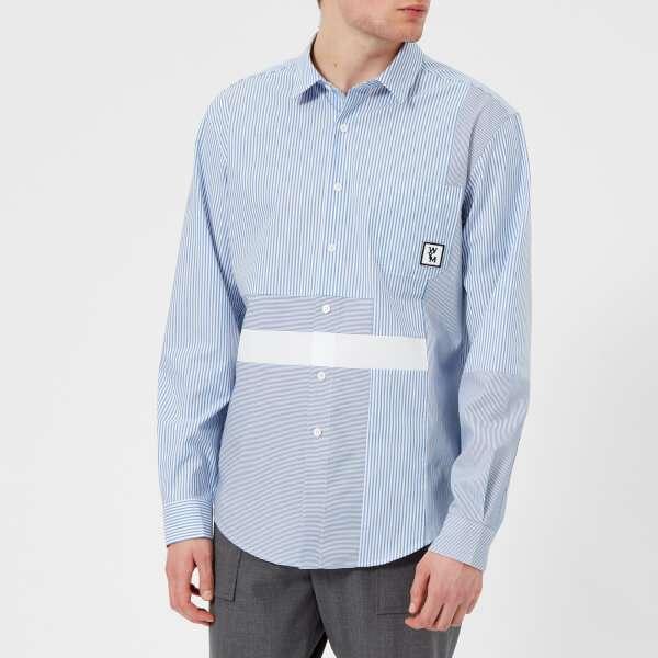 Wooyoungmi Men's Patchwork Shirt - Blue