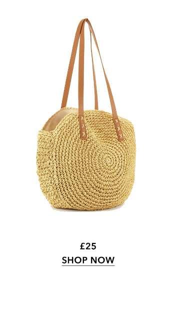 Natural Circle Straw Tote Bag