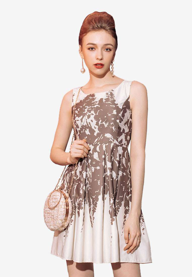 Shadow Print Sleeveless Dress