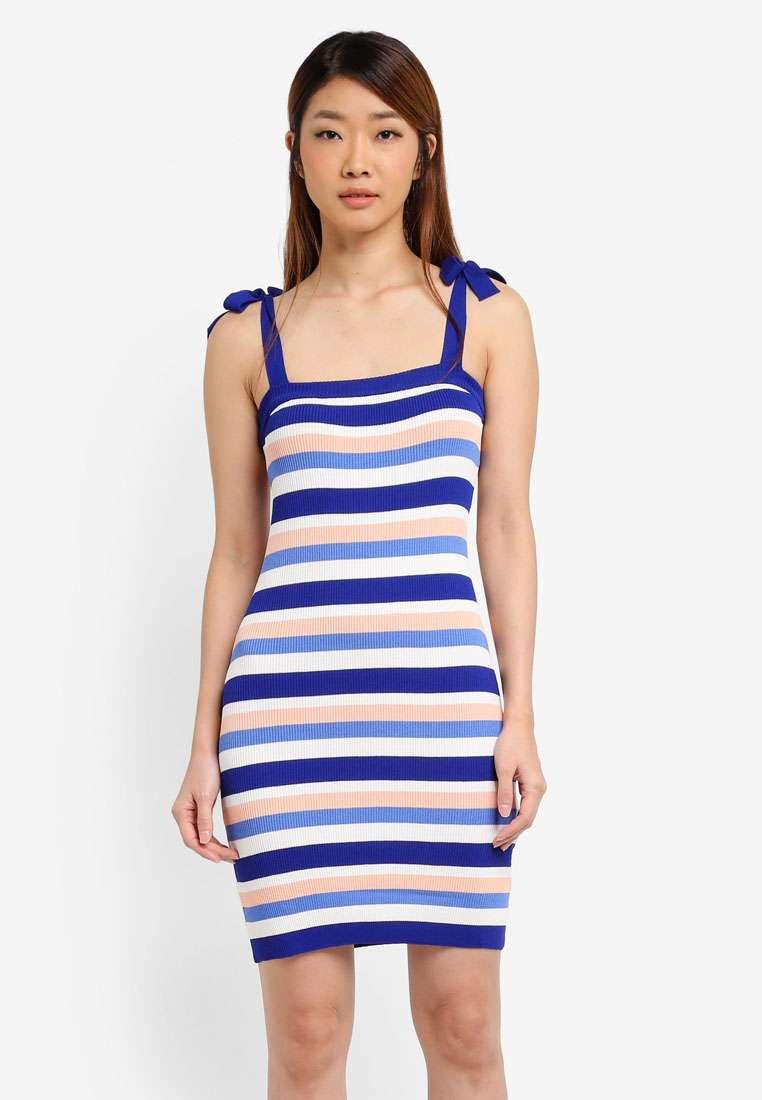 Striped Rib Dress With Strap Tie