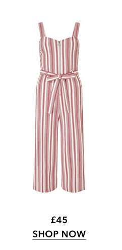 PETITE Red Striped Jumpsuit