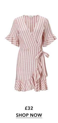 Striped Frill Wrap Dress