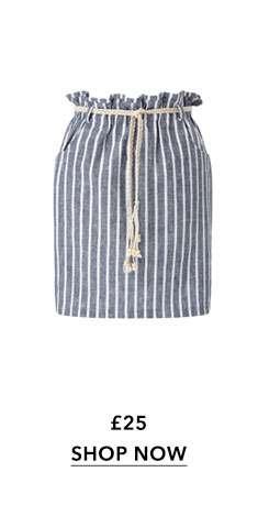 Pale Blue Paper Bag Skirt