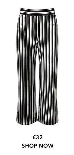 Black Striped Cropped Wide Leg Trousers