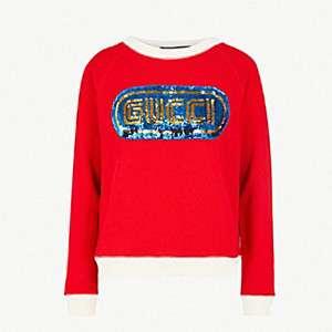 GUCCI                                Logo sequin cotton-jersey sweatshirt