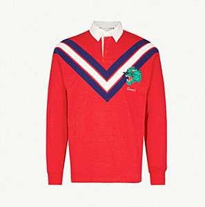 GUCCI                                Chevron-print cotton-jersey polo top