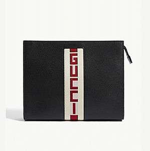 GUCCI                                Sega web print leather zipped pouch