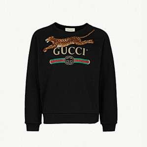 GUCCI                                Leopard-patch cotton-jersey sweatshirt