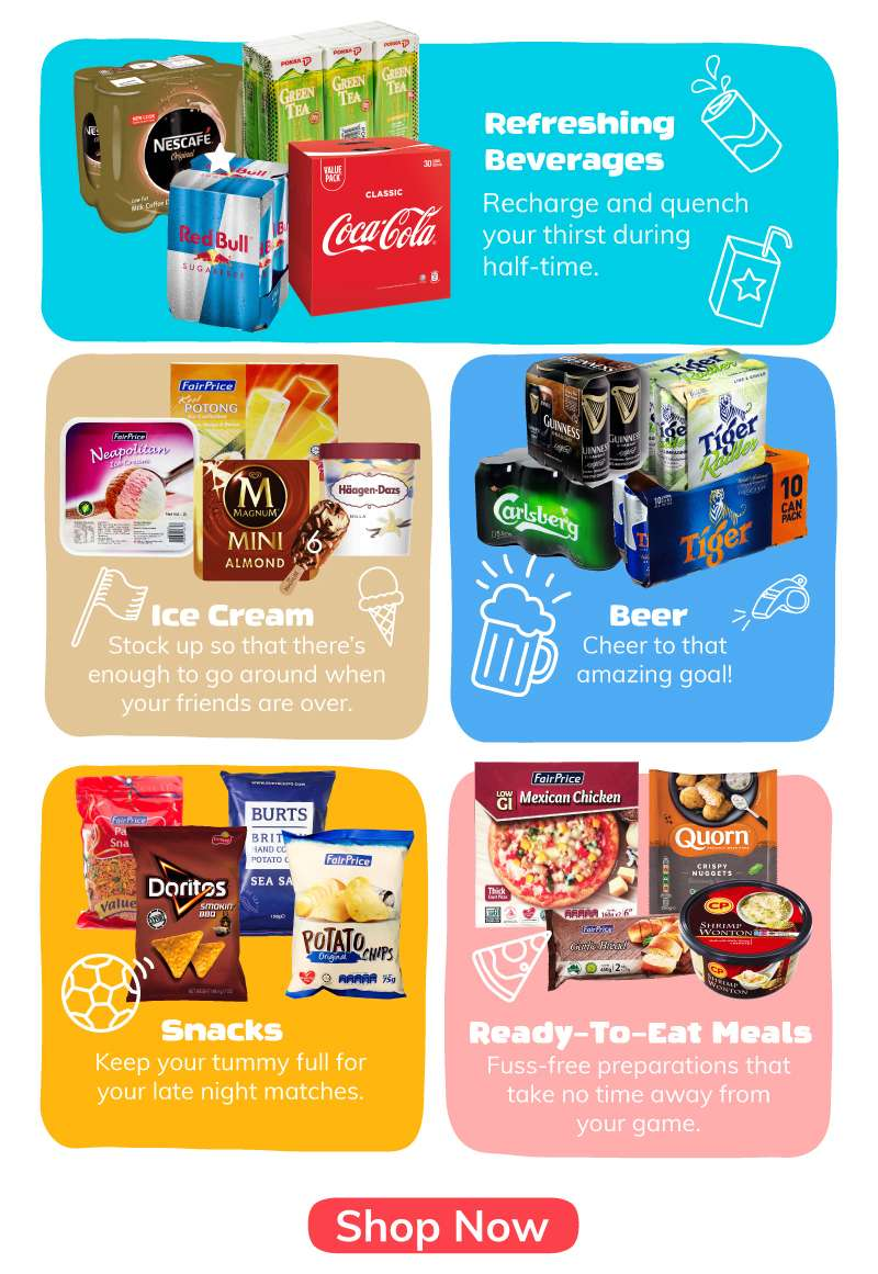 beverages, snacks, ready-to-eat meals and ice cream