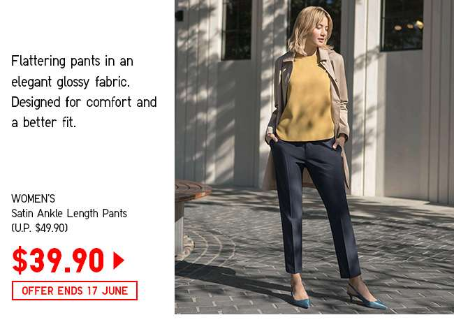 Women's Satin Ankle Length Pants at $39.90