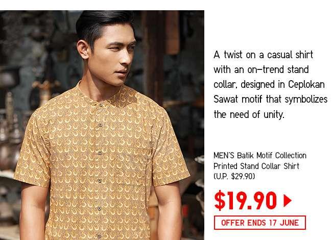 Men's Batik Motif Collection Printed Stand Collar Shirt at $19.90