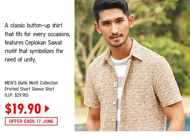 Men's Batik Motif Collection Printed Short Sleeve Shirt at $19.90