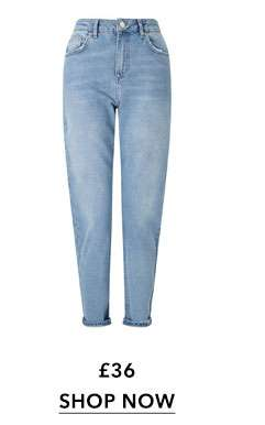 PETITE MOM High Waist Slim Fit Mid Blue Turn Up Jeans