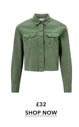 Khaki Cropped Shacket