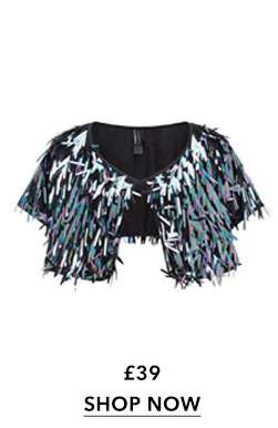SOUTH BEACH Black Sequin Cape
