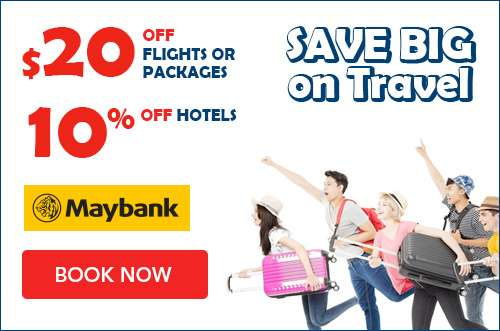 10% OFF hotel bookings and $20 OFF flights and packages