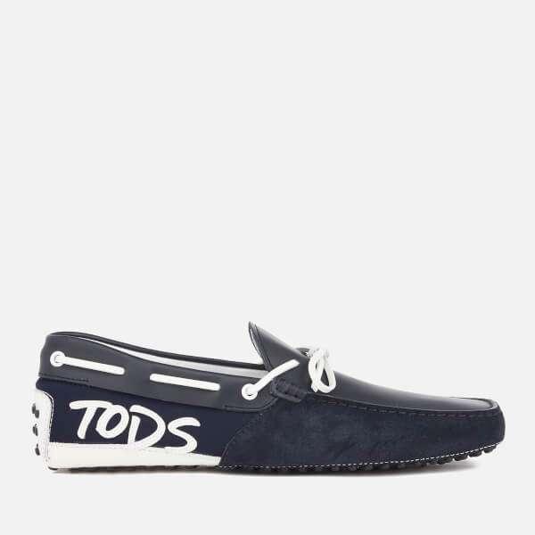 Tod's Men's Gommino Logo Side Driving Shoes - Navy/White