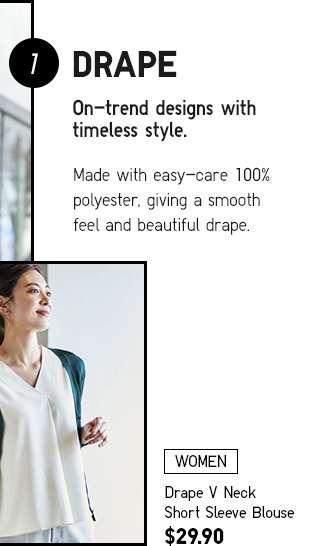 Women's Drape V Neck Short Sleeve Blouse