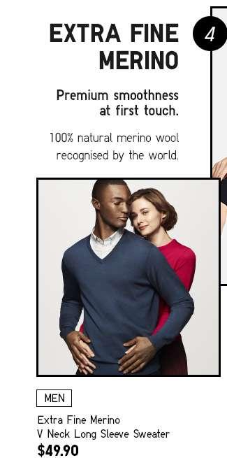 Men's Extra Fine Merino V Neck Long Sleeve Sweater