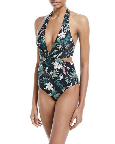 floral-print knotted halter one-piece swimsuit