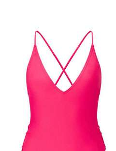 SOUTH BEACH Pink Lace Up Side Swimsuit