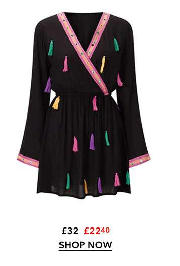 SOUTH BEACH Black Beach Playsuit with Tassels