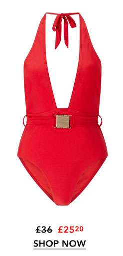 WOLF & WHISTLE Belted Halter Neck Swimsuit