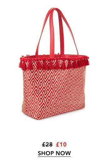 WOVEN Red Tassel Tote Bag