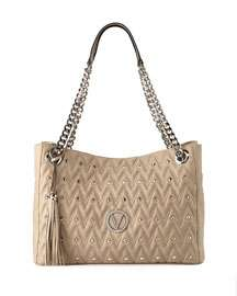 Valentino By Mario Valentino Verra D Quilted Sauvage  Leather Tote Bag