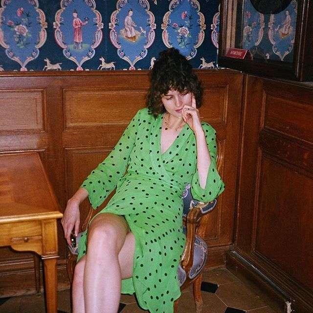 @chloechill in Georgette Wrap Dress #ganni #gannigirls - shop link in bio