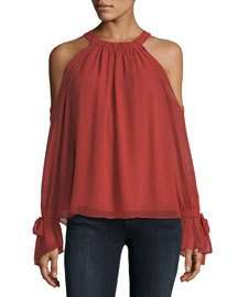 BCBGMAXAZRIA Silk Cold-Shoulder Halter Blouse