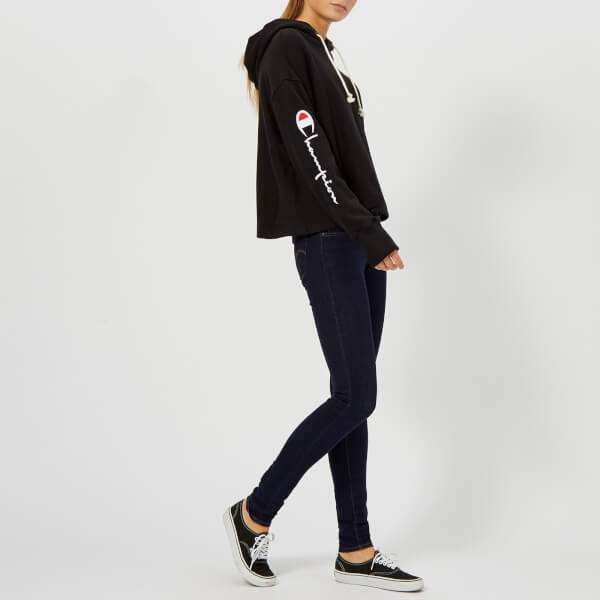 Champion Women's Hooded Cropped Sweatshirt - Black: Image 21