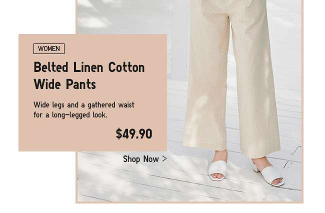 Womens Belted Linen Cotton Wide Pants