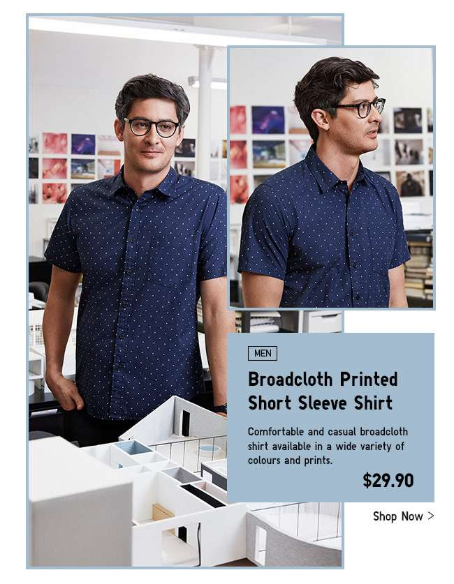 Mens Broadcloth Printed Short Sleeve Shirt