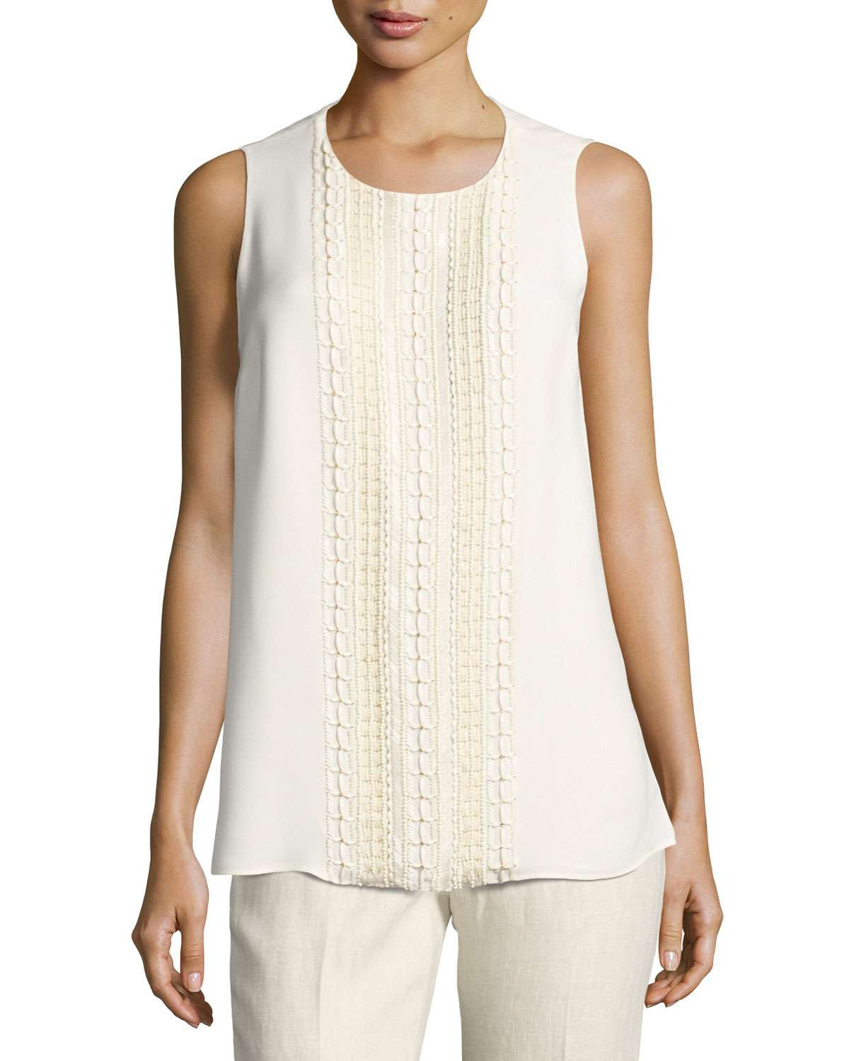 Sleeveless Hand-Beaded Double-Georgette Silk Blouse, Ivory