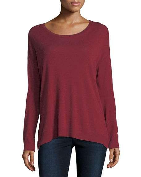 Cotton/Cashmere Long-Sleeve Crewneck T-Shirt