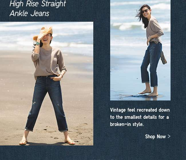 Womens High Rise Straight Ankle Jeans