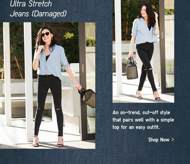 Womens Ultra Stretch Jeans Damaged